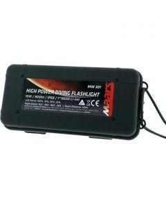 Zestaw wodoodporna latarka akumulatorowa MW 301 10W LED IP68 4 tryby świecenia + ładowarka