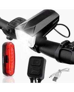 Zestaw wielofunkcyjna lampka rowerowa z klaksonem LED PRZÓD + lampka TYŁ