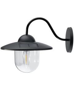 Lampa ogrodowa elewacyjna LED solarna KINKIET czarny 0,5W 3500K ciepła