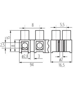 Złączka Przyłączeniowa Dwunastotorowa 16mm H-16MM2 PE MI N Kanlux