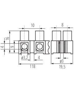 Złączka Przyłączeniowa Dwunastotorowa 4mm H-4MM2 PE MI N Kanlux