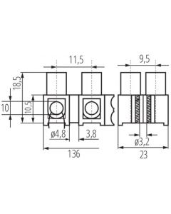 Złączka Przyłączeniowa Dwunastotorowa 10mm H-10MM2 PE MI N Kanlux