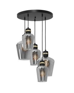 Lampa wisząca RICHMOND 5xE27 Przydymione Szkło Złote Wstawki MLP6542 Milagro Metal + Szkło