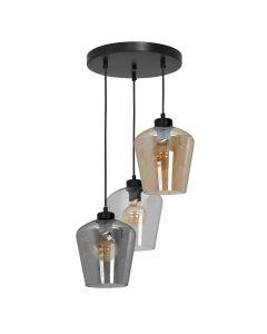 Lampa wisząca SANTIAGO MIX 3xE27 Klosz Transparentny Przydymiony Bursztynowy MLP6614 Metal + Szkło