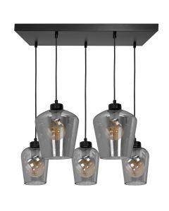 Lampa wisząca SANTIAGO 5xE27 Klosz Przydymione Szkło  MLP6616 Metal + Szkło
