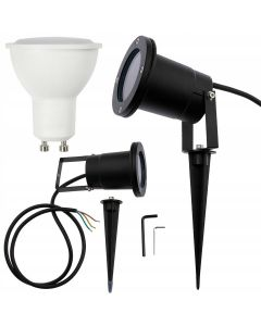Zestaw Lampa Ogrodowa LED DIEGO IP65 WODOODPORNA + PRZEWÓD + LED GU10 6W 3000K