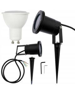 Zestaw Lampa Ogrodowa LED DIEGO IP65 WODOODPORNA + PRZEWÓD + LED GU10 6W 6000K