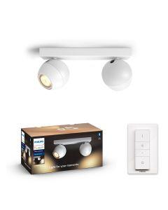 Philips HUE Buckram 2x Reflektor SPOT LED Punktowy Biały 2xGU10 + Ściemniacz ZigBee + Bluetooth 50472/31/P6