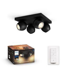Philips HUE Buckram 4xReflektor SPOT LED Punktowy Czarny 4xGU10 + Ściemniacz ZigBee + Bluetooth 50474/30/P6