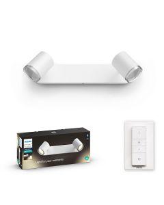 Philips HUE Adore Łazienkowy Reflektor SPOT Punktowy 2xGU10 Biały + Ściemniacz ZigBee + Bluetooth 34179/31/P6