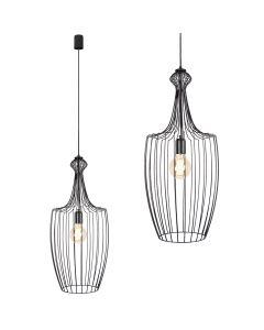 Lampa wisząca NOWODVORSKI E27 Druciana Minimalistyczna 8847 LUKSOR L Czarna Stal Śr. 32 cm