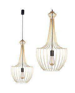 Lampa wisząca NOWODVORSKI E27 Druciana Minimalistyczna 8853 LUKSOR S Złota Stal Śr. 37 cm