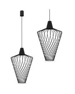 Lampa wisząca NOWODVORSKI E27 Druciana Minimalistyczna 8856 WAVE L Czarna Stal Śr. 40 cm