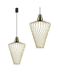 Lampa wisząca NOWODVORSKI E27 Druciana Minimalistyczna 8857 WAVE L Złota Stal Śr. 40 cm