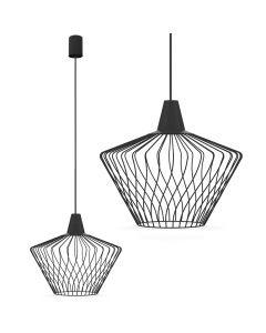 Lampa wisząca NOWODVORSKI E27 Druciana Minimalistyczna 8858 WAVE S Czarna Stal Śr. 40Cm
