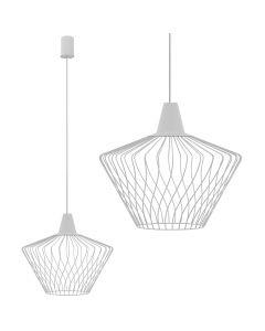 Lampa wisząca NOWODVORSKI E27 Druciana Minimalistyczna 8860 WAVE S Biała Stal Śr. 40 cm
