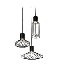 Lampa wisząca NOWODVORSKI 3xGU10 Druciana 8863 PICO III Czarna Stal Mosiądzowana Śr. 42 cm