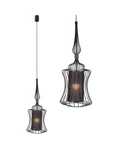 Lampa wisząca NOWODVORSKI E27 Druciana Nowoczesna 8870 ABI S Czarna Stal Śr. 25 cm