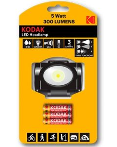 Latarka czołowa LED HEADLAMP 300lm 5W + 3xAAA KODAK 3 TRYBY