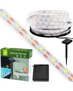 TAŚMA solarna 180x LED 8 trybów 5M wodoodporna ogrodowa 30lm 6500K zimna