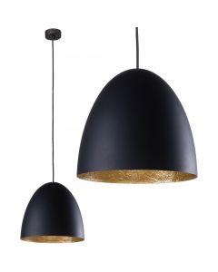 Lampa wisząca sufitowa tuba NOWODVORSKI E27 9022 EGG M Czarna Złota Stal Śr. 39 cm