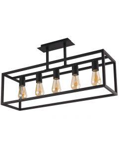 Lampa sufitowa NOWODVORSKI 5xE27 Klatka Loft 9047 CRATE Czarna Stal