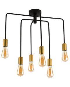 Lampa wisząca NOWODVORSKI 6xE27 Vintage Retro 9296 AXIS Czarna Miedź Stal