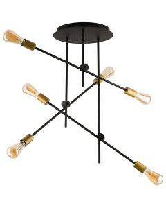 Lampa wisząca NOWODVORSKI 6xE27 Vintage Retro 9297 AXIS Czarna Miedź Stal