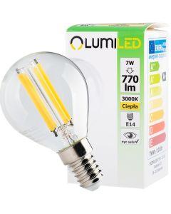 Żarówka LED KULKA E14 FILAMENT 7W = 60W 770lm LUMILED Ciepła 3000K 360°