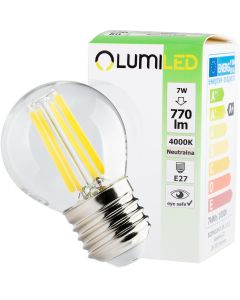 Żarówka LED KULKA E27 FILAMENT 7W = 60W 770lm LUMILED Neutralna 4000K 360°