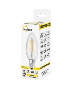 Żarówka LED E14 B35 7W = 65W 770lm 3000K Ciepła 360° Filament LUMILED