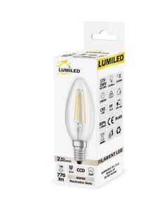 Żarówka LED E14 B35 7W = 65W 770lm 4000K Neutralna 360° Filament  LUMILED