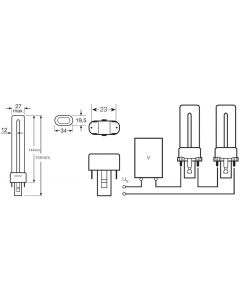 Świetlówka G23 9W 600lm 3000K Ciepła OSRAM Dulux S
