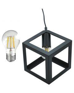 Lampa Wisząca Sufitowa Geometryczna SWEDEN Czarna + Żarówka LED E27 7W POLUX