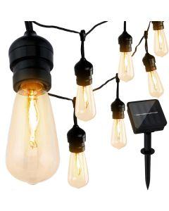 GIRLANDA SOLARNA szklana 10 Edison ECO LED filament 6m ogrodowa ozdobna dekoracyjna 3000K ciepła