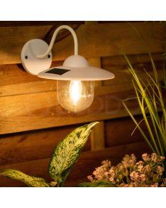 Lampa ogrodowa elewacyjna LED solarna KINKIET biały 0,5W 3500K ciepła