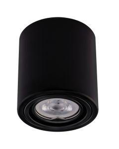 Oprawa Natynkowa HALOGENOWA Aluminiowa Czarna SPOT TUBA 10cm + Żarówka LED GU10 5W 2700K Bellalux