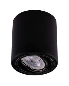 3x Oprawa Natynkowa HALOGENOWA Aluminiowa Czarna SPOT TUBA 10cm + Żarówka LED GU10 5W 2700K Bellalux