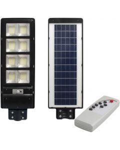 Lampa LED solarna uliczna czarna 360W 6000K zimna IP65 czujnik ruchu i zmierzchu + pilot