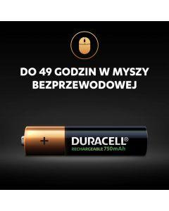 AKUMULATORKI Baterie Duracell RECHARGEABLE AAA 750MAH HR03 Blister 4szt