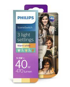 Żarówka LED E14 B35 5,5W 4W 2W 470lm 180° PHILIPS  3w1 Sceneswitch