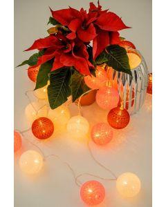 COTTON BALLS Kule świecące LED Girlanda na baterie Biały + różowy Lampki 20x LED MILAGRO EKD9340