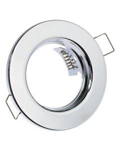 Oprawa HALOGENOWA Podtynkowa Stała Okrągła Chrom Blacha GU10 MR16