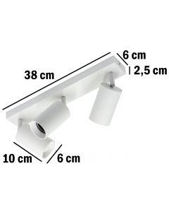 Kinkiet sufitowy 3x GU10 SPOT Lampa LED QUALIS III Biały + pierścień czarny