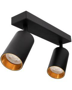 Kinkiet sufitowy 2x GU10 SPOT Lampa LED QUALIS II Czarny + pierścień złoty