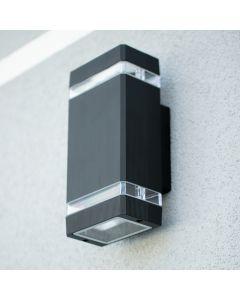 Lampa Ogrodowa Kinkiet Elewacyjny Czarny ALUMINIOWY + 2xGU10 LED 5W 2700K Bellalux