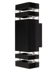 SuperLED Kinkiet ogrodowy elewacyjny podwójny CUBO LED 2x GU10 ALUMINIUM czarny IP55 6747