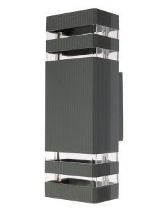 SuperLED Kinkiet ogrodowy elewacyjny podwójny CUBO LED 2x GU10 ALUMINIUM szary IP55 6747