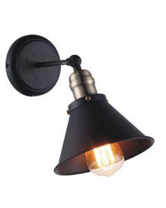 Nowoczesna lampa ścienna czarna kinkiet z kloszem do kuchni 1 x E27