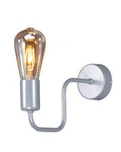 Nowoczesna lampa ścienna nocna szara minimalistyczna kinkiet do sypialni 1 x E27